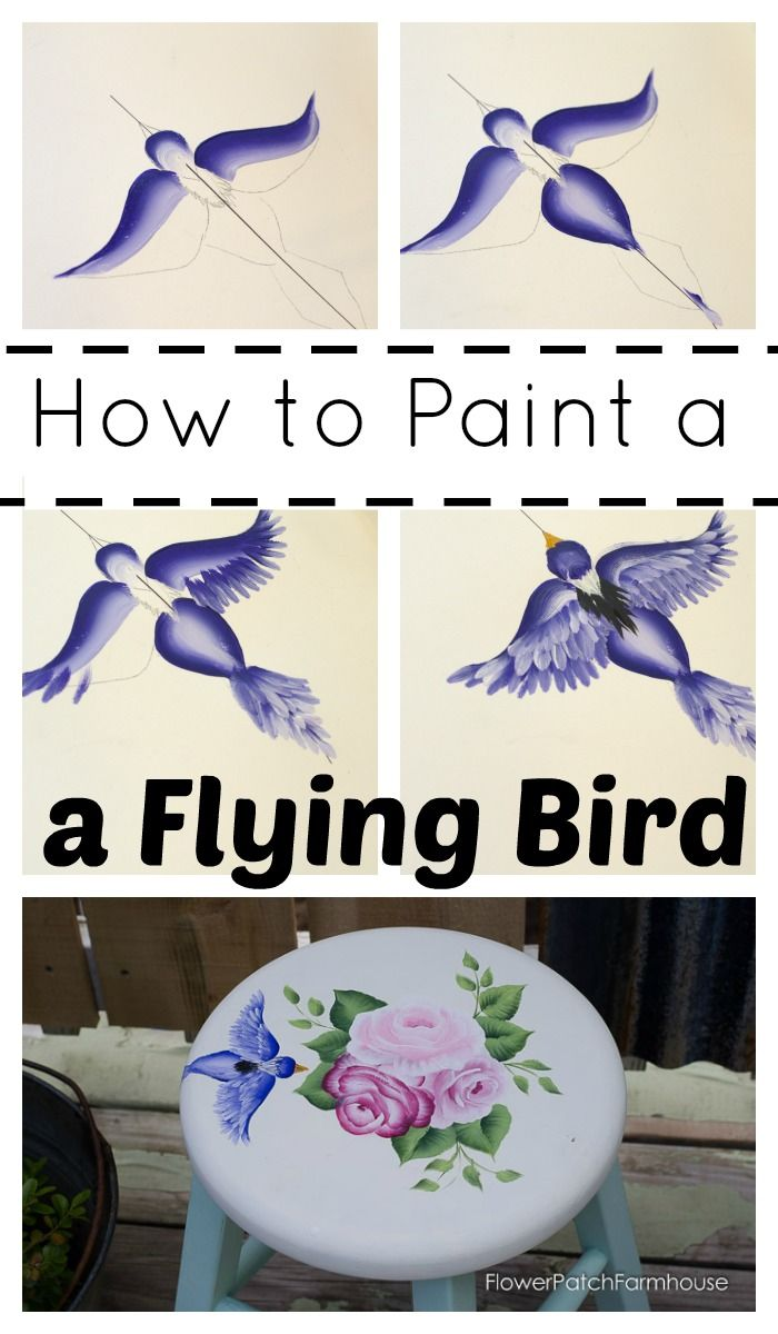 How to Paint a Bird in Flight, simple step by step lesson, FlowerPatchFarmhouse.com