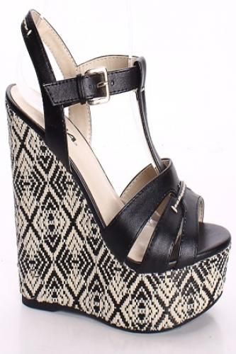 BLACK STRAPPY OPEN TOE WOVEN DESIGN WEDGES