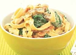 Creamy Spinach and Chicken Bacon Pasta  Ingredients    fettuccini or pasta for 2  200g smoked chicken bacon  1 cup sliced button mushrooms  2 cloves garlic, peeled and sliced  2-3 cups firmly packed spinach leaves, stems removed  400g can Wattie's Ceamy Bacon and Cheese   Pasta Sauce  grated parmesan cheese and black pepper to garnish