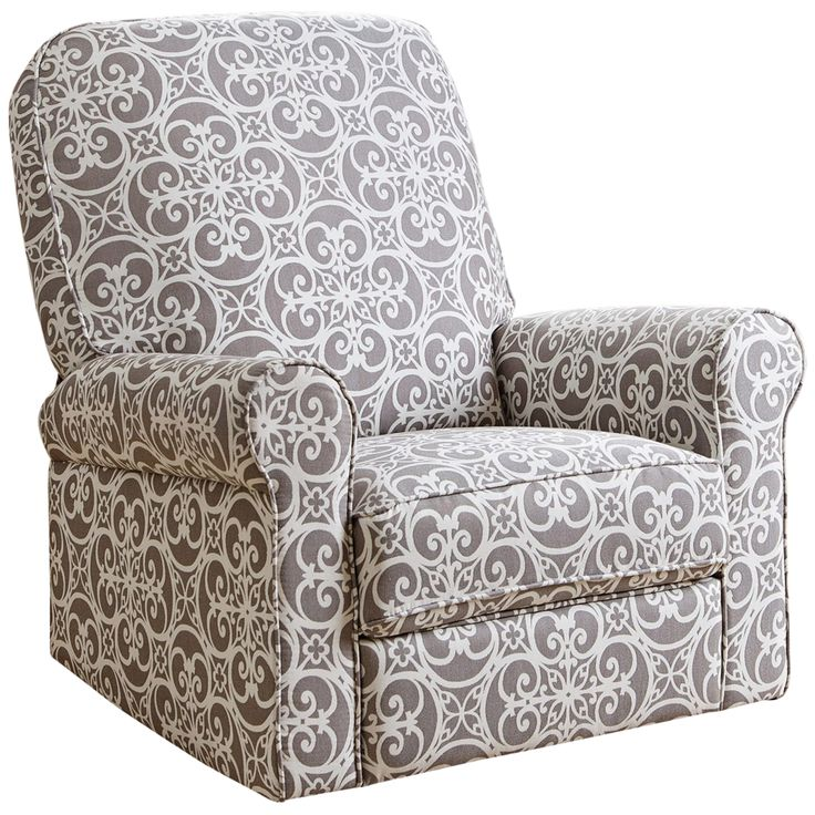 Perth Gray Floral Fabric Swivel Glider Recliner Chair - Style # 9G840