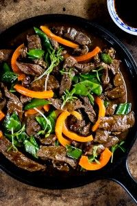 Beef Stir-fry With Peppers And Pea Shoots Recipe