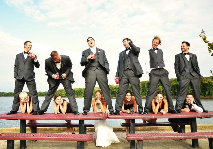 What a unique and cute idea for a wedding party photo! From Cody Krogman Photography