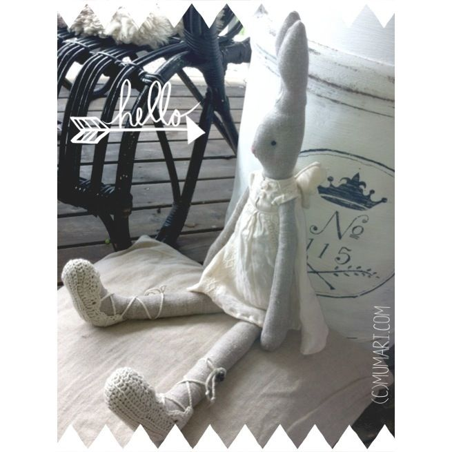 My latest bunny angel, with a lace dress and crocheted shoes.  Best combo of sewing and crochet! Love it! #diy