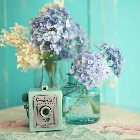 Hydrangea Photograph Shabby Chic Decor Fine Art Print Pastel Photograph Floral Print Aqua Blue Vintage Camera Mason Jar Square Print