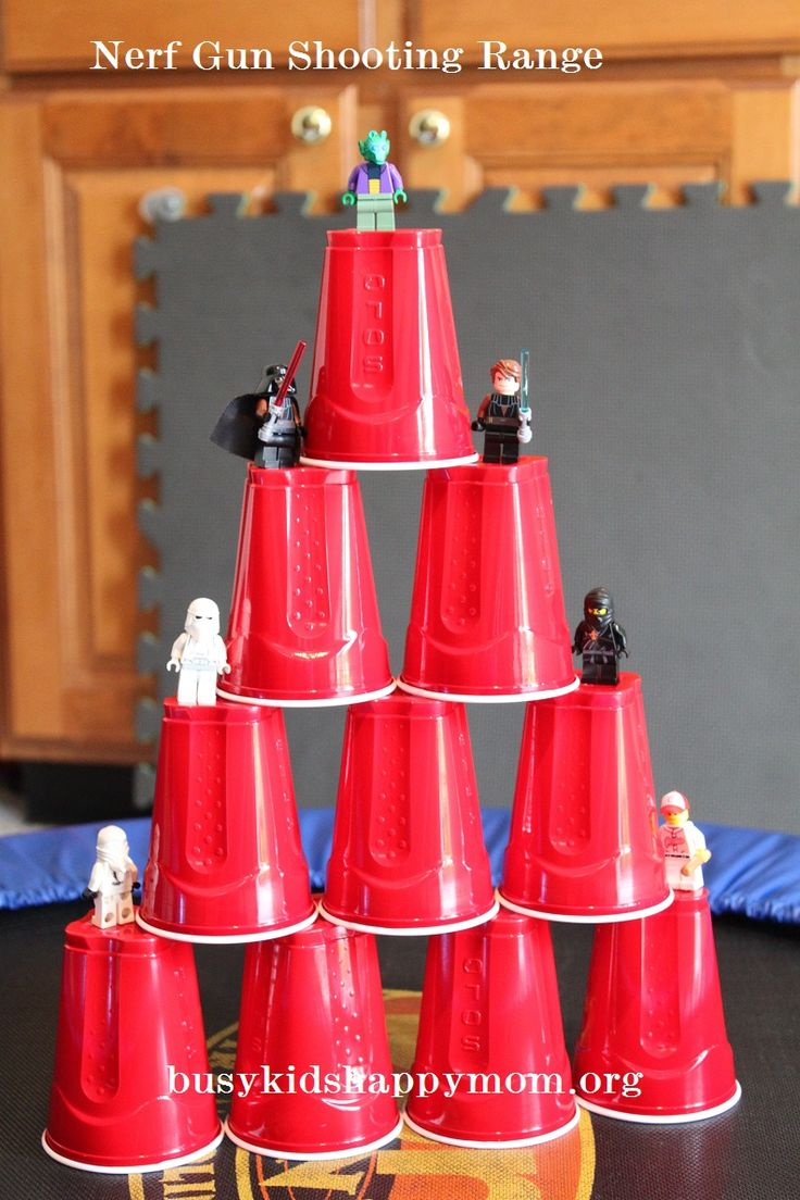 BOYS LOVED this. Short lived but they created the biggest towers that they could. Lasted about fifteen minutes, but was worth it. Kept them off screens for fifteen minutes and was really easy to set up and put away. Nerf Gun Target Practice, easy and fun