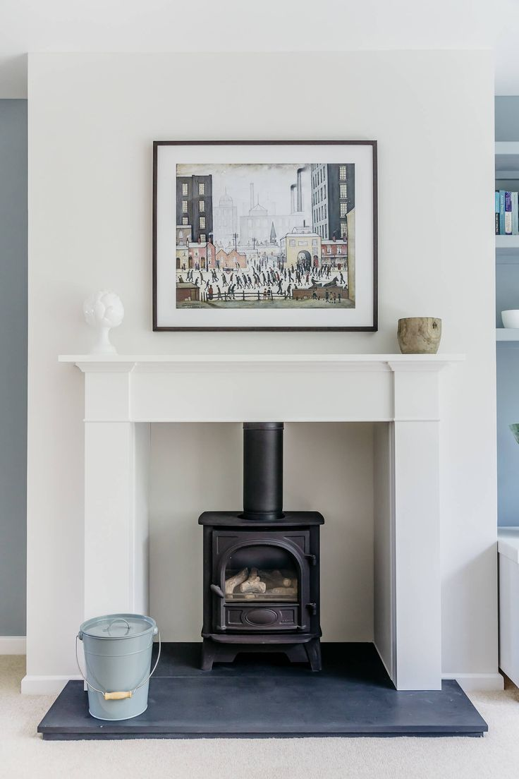 Sitting room mantle piece. Contemporary country. Chesney's contemporary gas stove, slate hearth, Lowry print. Walls in Little Greene Slaked Lime Mid and Bone China blue