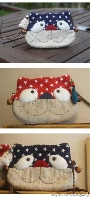 cute wee kitty pouches with templates (instructions in Chinese)