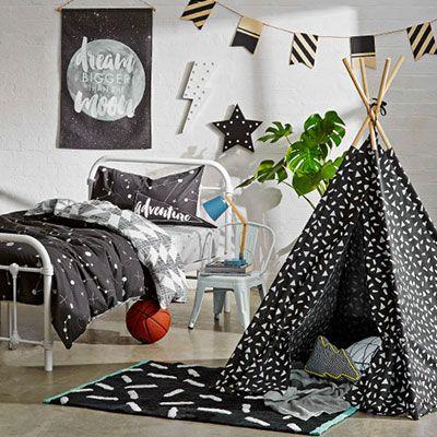 Big kids monochrome bedroom makeover. Kmart Australia Style