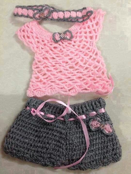 Pink and Grey Crochet Top and Shorts with Matching Headband for Toddler/Infant Girl