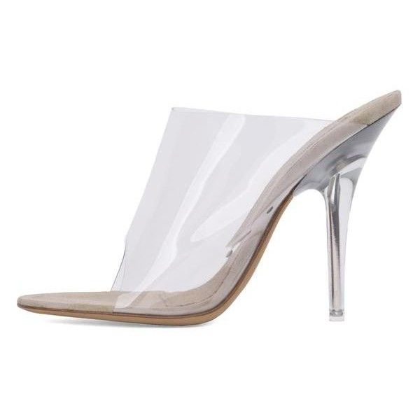 MULE IN PVC 110MM HEEL CLEAR ($650) ❤ liked on Polyvore featuring shoes, high heel mule shoes, clear shoes, high heel mules, high heel shoes and clear high heel shoes