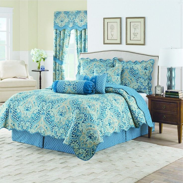 Blue Damask Moonlit Shadows Reversible Quilt Set (Twin) 3pc - Waverly