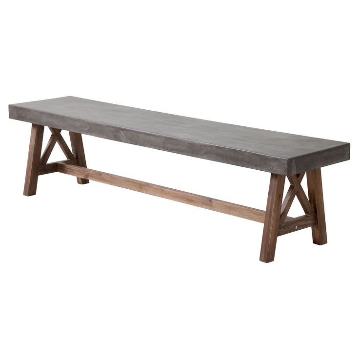 The Ford bench is made from solid Acacia wood base finished in a contemporary dark walnut stain.  The top is a non-porous epoxy and cement mix designed to be easily cleaned with any household detergent.  This bench exemplifies strength and style for any space outdoor or indoor.