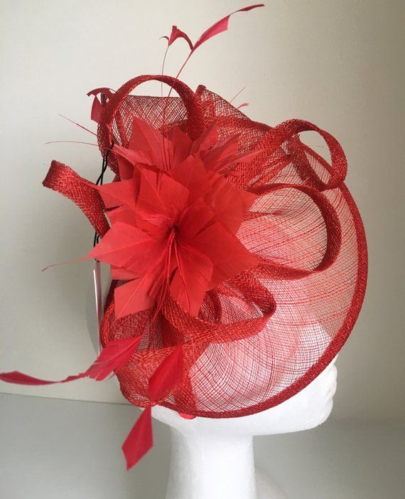 5d0d5a98972 TheHeadwearBoutique on Etsy- Alma Red Kentucky Derby Fascinator 2019 ...