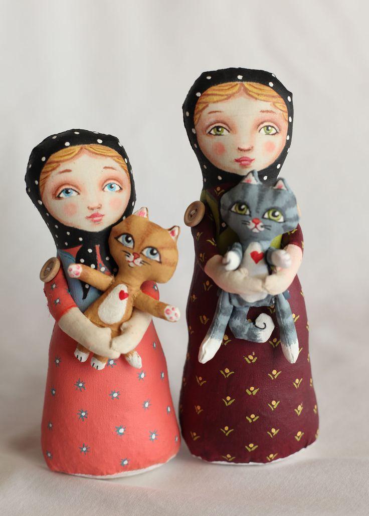 """Sisters"" - Babushka Stump Dolls by Hally Levesque"