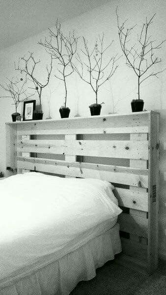 Wooden bed with decorations