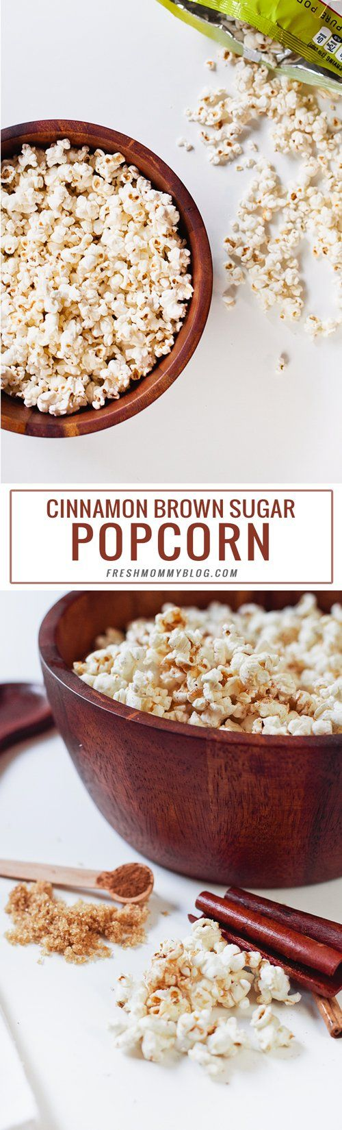 Cinnamon Brown Sugar Popcorn, This Cinnamon Brown Sugar Popcorn is the perfect snack for satisfying your sweet tooth without wrecking your diet or leaving you feeling guilty. Low calorie and easy to make. Perfect for National Popcorn Day! |  FreshMommyBlog.com