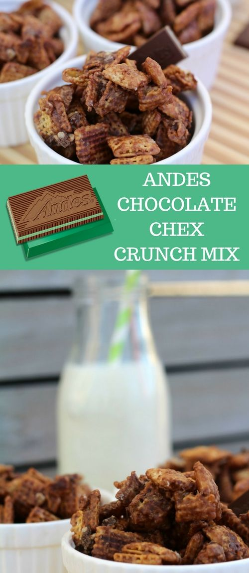 The perfect combination of crunch, chocolate and mint! Andes chocolate chex crunch mix. Easy to make and fun to eat. Try it today!