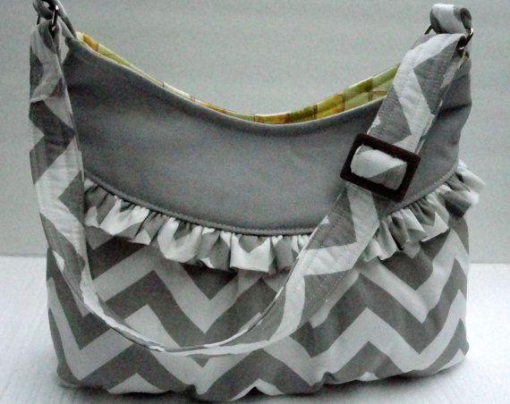 Handmade Fabric Bags Purses  Gray Chevron  by SewProDesigns, $54.99