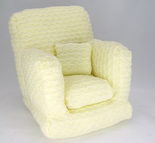 "Knitting pattern instructions to knit an arm chair. This comfy chair is suitable for a 12-16"" (30-40cm) doll or teddy bear."