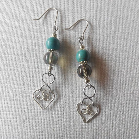 SALE sterling silver heart earrings with turquoise by terramor