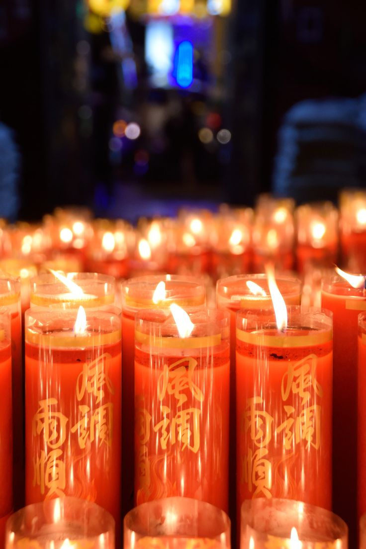 Candles in a temple in Ximen, Taiwan