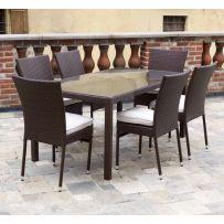 """Set tavolo 6 posti mod. """"Iolana"""" in rattan sintetico marrone intrecciato a mano e struttura in allumionio. Dotato di sei sedie con cuscino."""