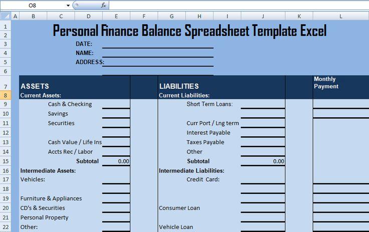 Personal Finance Balance Spreadsheet Template Excel – Excel Spreadsheet Templates