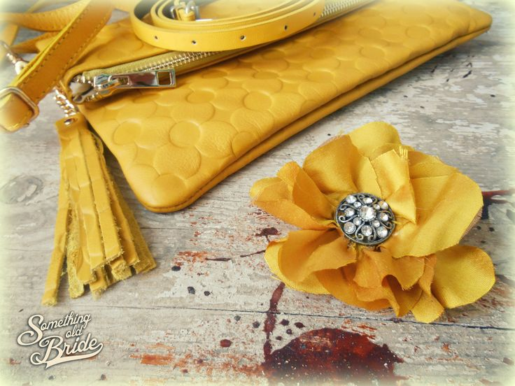 Golden yellow flower jewelry by Something Old Bride http://somethingoldbride.com/