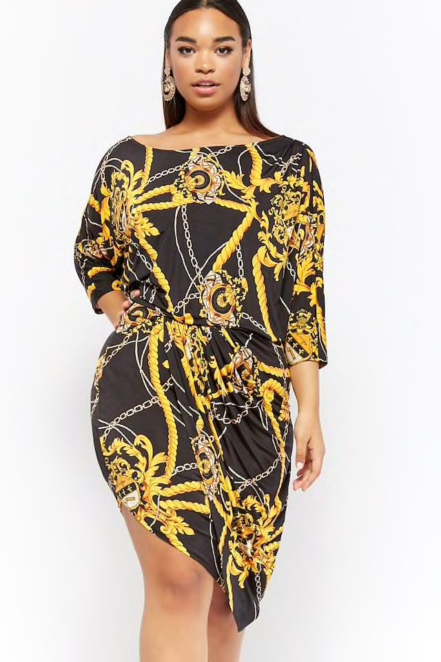 f5af706ee09 Plus Size Rope   Chain Print Dress