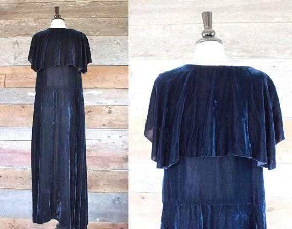 1930-х годов платье 30-х годов шелк BIAS бархата вырежьте вечернее от FancyLuckyVintage