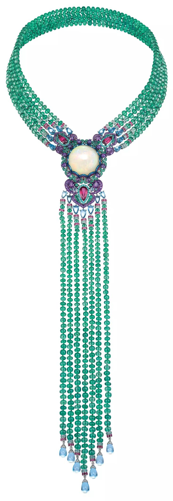 Chopard Necklace in 18k white gold and titanium with a 29.8ct white opal, 413ct t.w. emerald beads, 29ct t.w. topaz, 5.9ct t.w. amethyst, 4.4ct t.w. rubies, 4ct t.w. Paraiba tourmaline, 3.9ct t.w. rubellites, and emeralds and sapphires