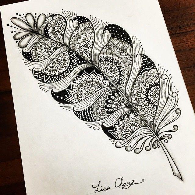 Mandala feather #Zendala #zentangle #Mandala#Lisa#Taipei #Taiwan#Zentangle#ZIA#doodle#painting#drawing#feather