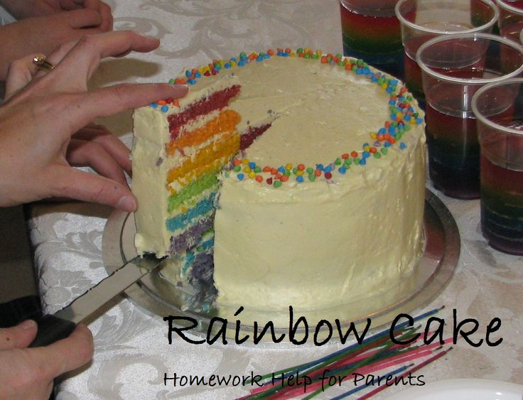 This is the cake that my sister made. It is a beautiful rainbow cake with 7 layers. The white butter icing on the outside hides the amazing, colourful inside.