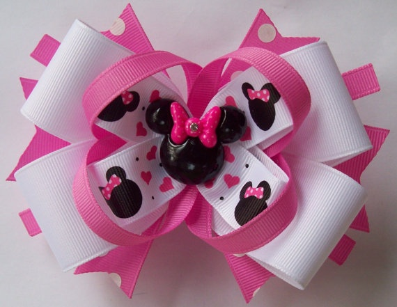 Pink and White Minnie Mouse inspired Boutique Handmade Hair Bow