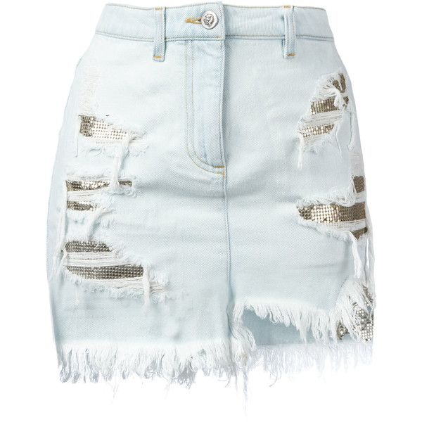 Versus distressed mesh insert denim skirt (€325) ❤ liked on Polyvore featuring skirts, mini skirts, bottoms, faldas, saias, blue, denim mini skirt, short denim skirts, blue denim mini skirt and short skirts