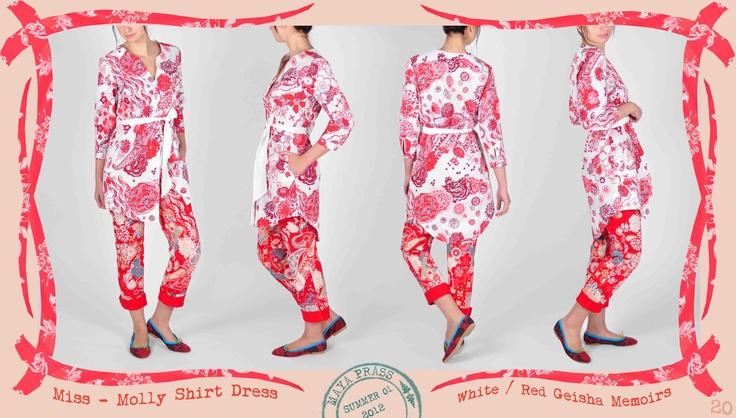 020 Miss Molly shirt dress in white Geisha Memoirs