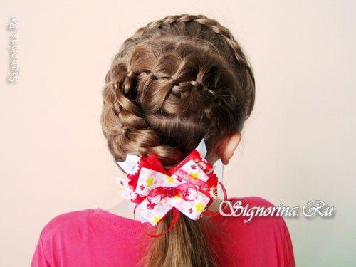 Прическа для девочки на длинные волосы с косами и бантиком: фото