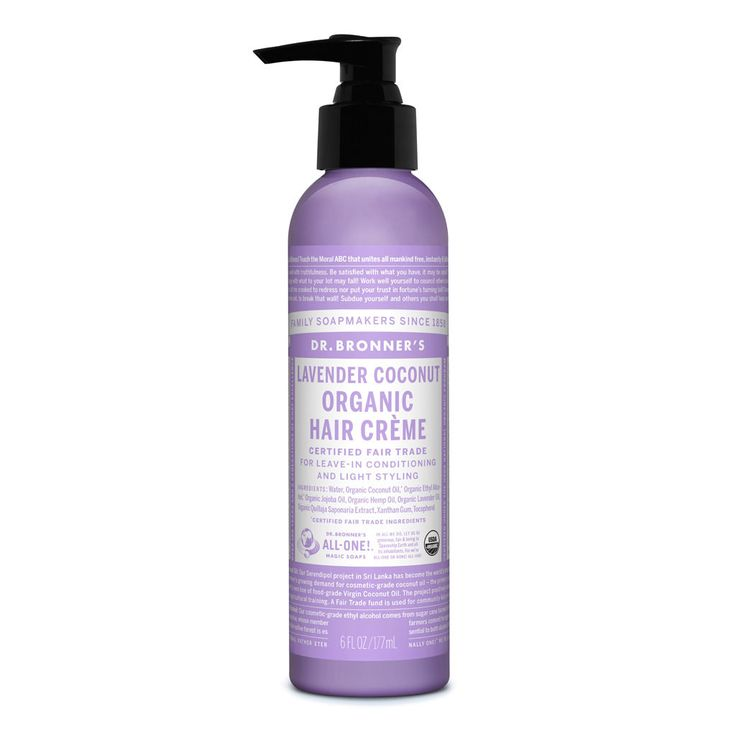 Certified organic to USDA National Organic Program standards, Dr. Bronner's Fair Trade & Organic Lavender Coconut Hair Crème provides light styling hold whi