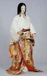 Woman of the upper (warrior) class in formal costume for summer: uchikake wrap around the waist.
