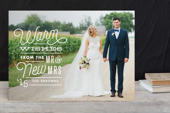 Holiday Photo Card for the Bride and Groom - Just Married Wishes by Cheer Up Press at minted.com