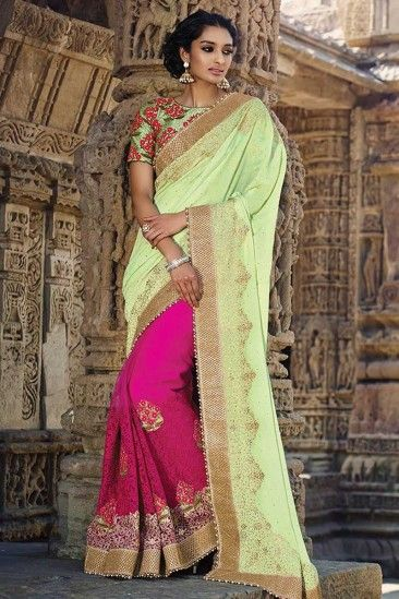 Pink with sea green Net Saree With Silk Blouse - DMV9337