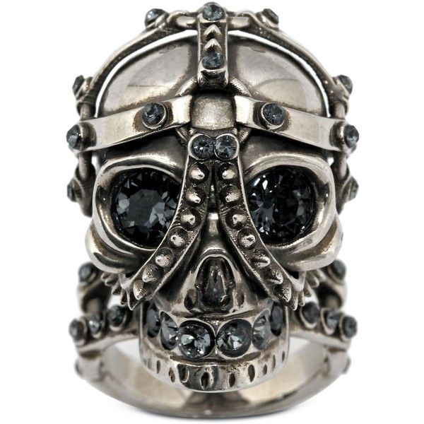 Alexander McQueen Harness Skull Ring ($415) ❤ liked on Polyvore featuring jewelry, rings, accessories, skull jewellery, swarovski crystal rings, skull ring, skull jewelry and alexander mcqueen ring