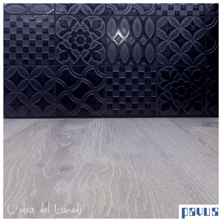 Gres smaltato nero lucido/opaco a rilievo di Tagina Ceramiche d'Arte  Parquet in rovere by Avance Floor