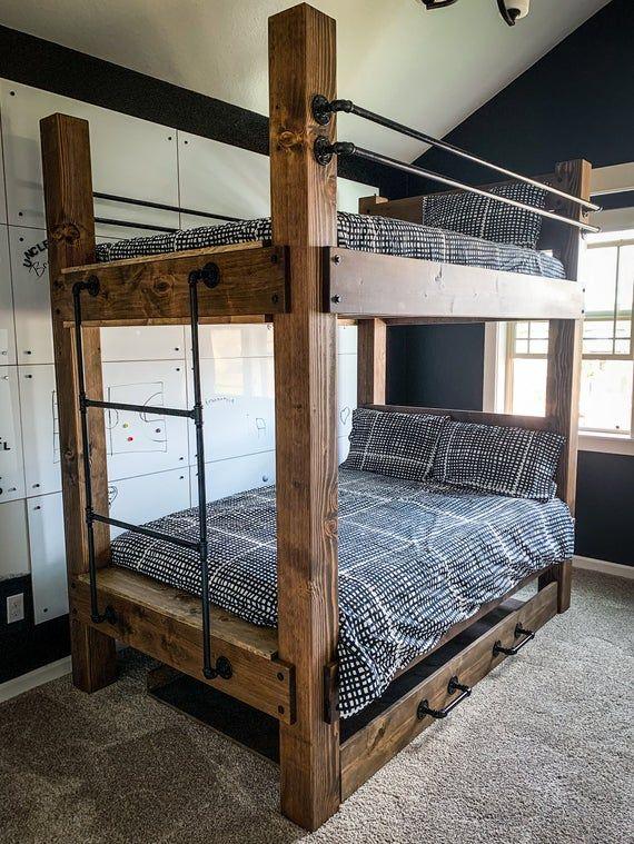 The Big Sky Bunk Beds Loft Bed Bunk Bed Frame Full Bed Etsy Diy Bunk Bed Loft Bed Plans Kids Room Furniture Full size bed bunk beds