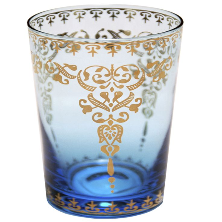 Gold Design on Aqua Blue Moroccan Glass