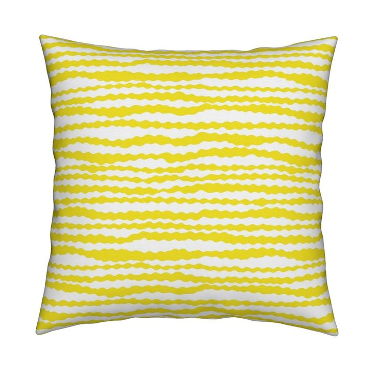 Roostery Catalan Throw Pillow featuring Wavy Stripes Yellow and White / Yellow Stripes on White by Minikuosi. #fabrics #sewing #patterndesign #homedecor