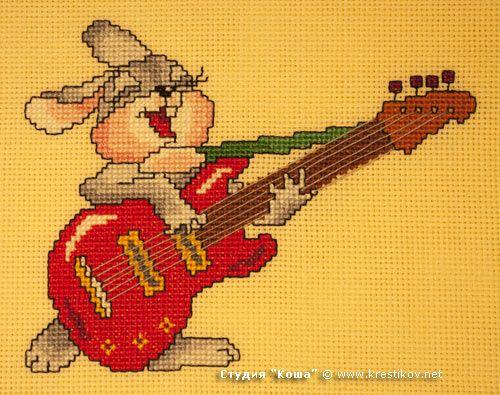 """Схема """"Зайчишка с гитарой"""""""