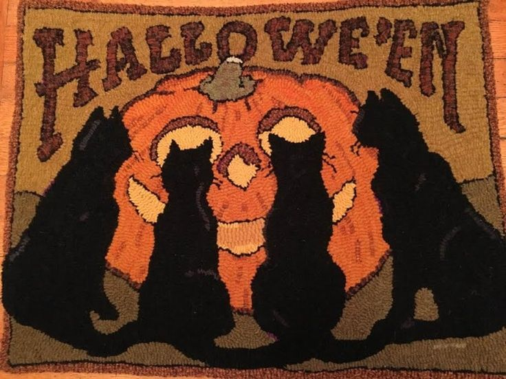 Vintage Postcard Inspired Halloween Cats