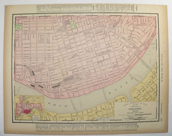 Old Cincinnati Map Vintage Cleveland Map City Street OH Original 1896 Unique Travel Gift Under 25 Christmas Gift for Home Office Anniversary by OldMapsandPrints