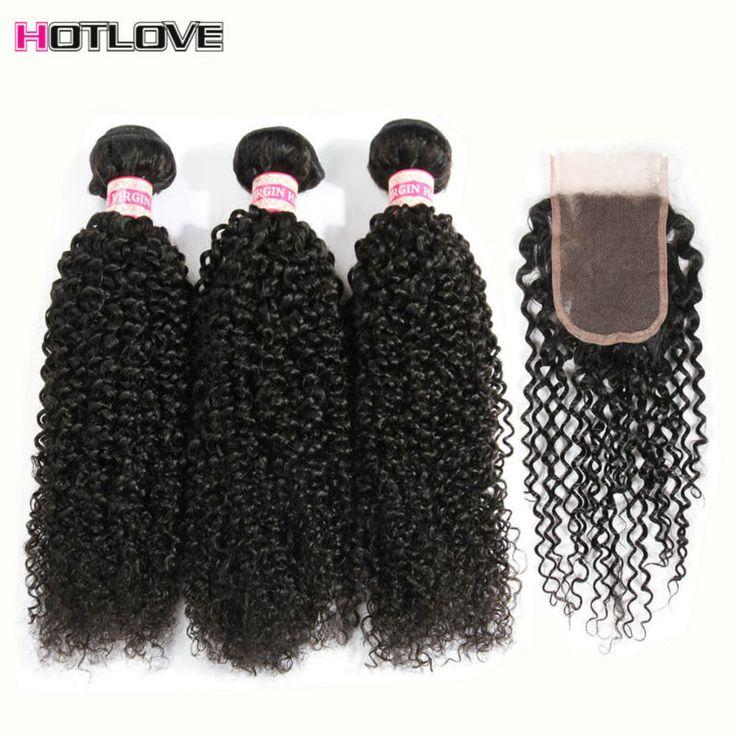 Grade 8a Mink Virgin Brazilian Hair With Closure 3 Bundles Brazilian Weave With Closure Kinky Curly Virgin Hair With Closure